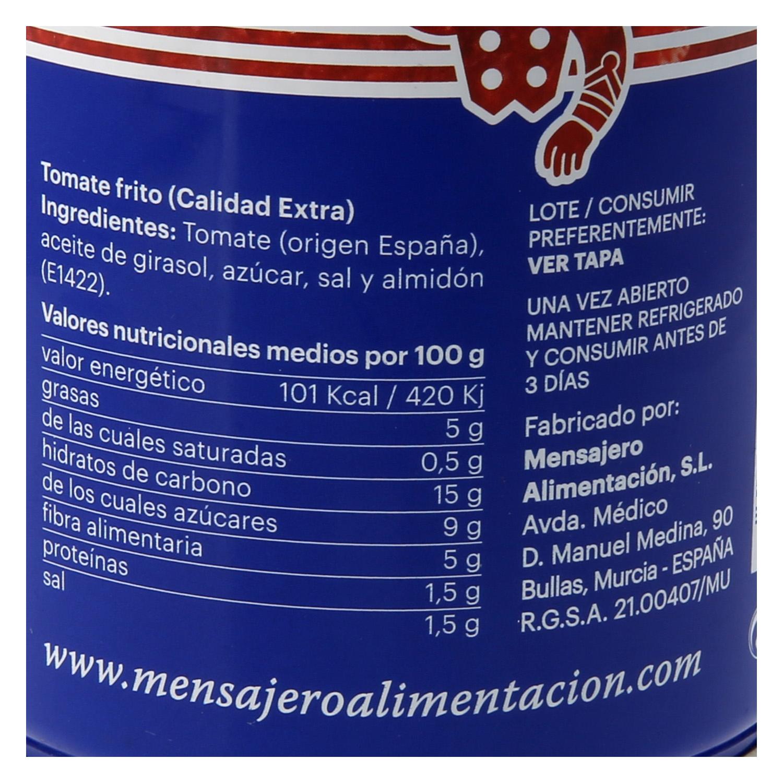 Tomate frito Mensajero sin gluten lata 470 g. -