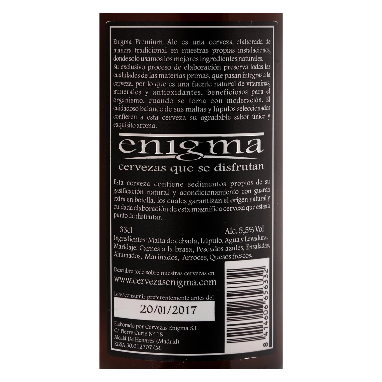 Cerveza artesana Enigma Premium Ale botella 33 cl. -