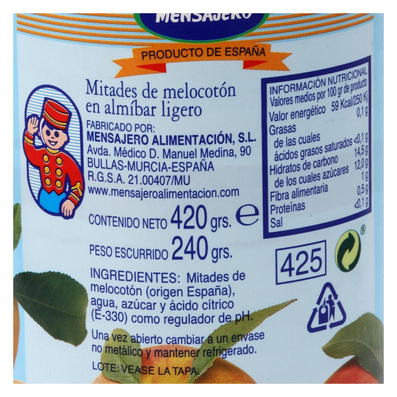 Mitades de melocotón en almíbar ligero Mensajero 240 g. -