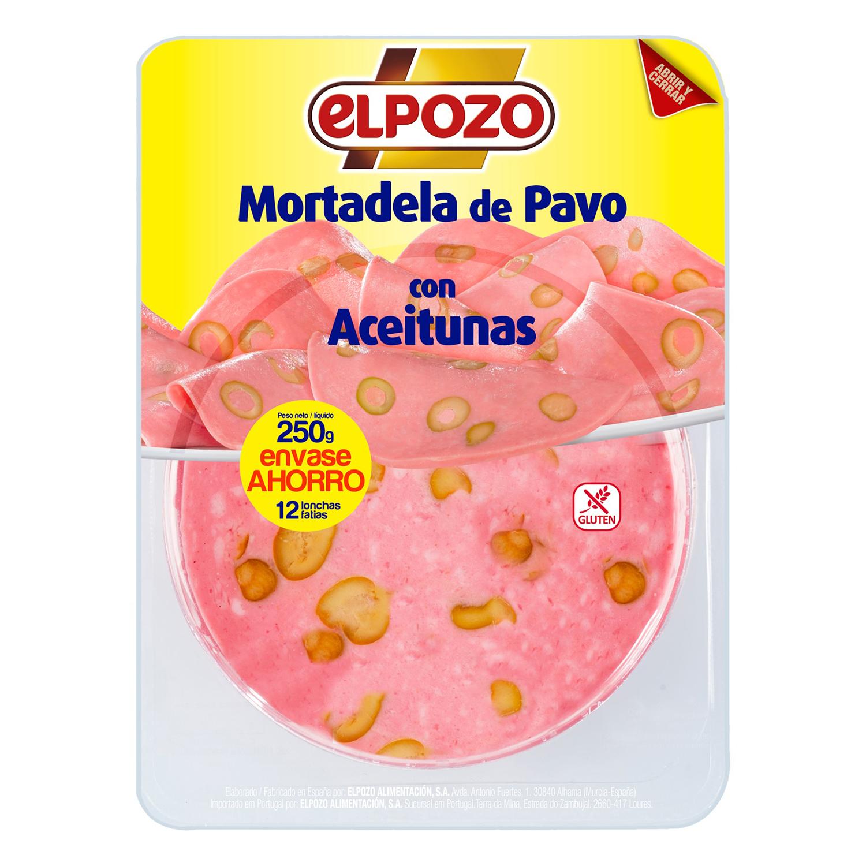 Mortadela de pavo con aceitunas El Pozo sin gluten 250 g.