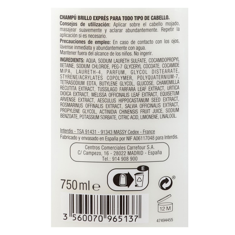Champú brillo exprés Carrefour 750 ml. -