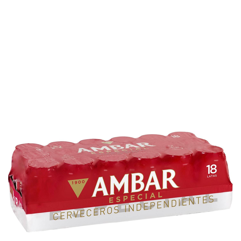 Cerveza Ambar Lager especial pack de 18 latas de 33 cl.