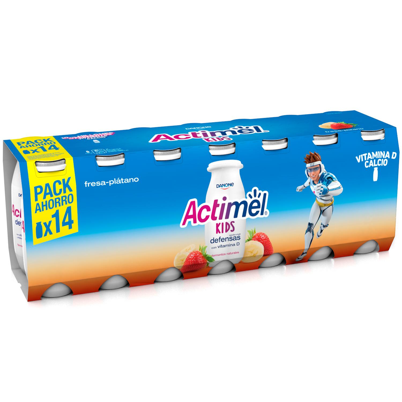 Yogur L.Casei líquido con fresa y plátano Danone Actimel pack de 14 unidades de 100 g.