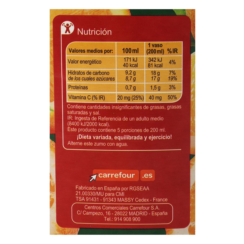Zumo de naranja Carrefour exprimido sin pulpa brick 1 l. - 2