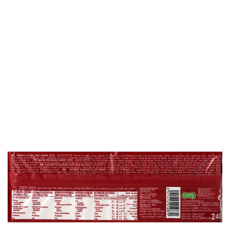 Galletas de barquillo sabor coco Wafers 240 g. -