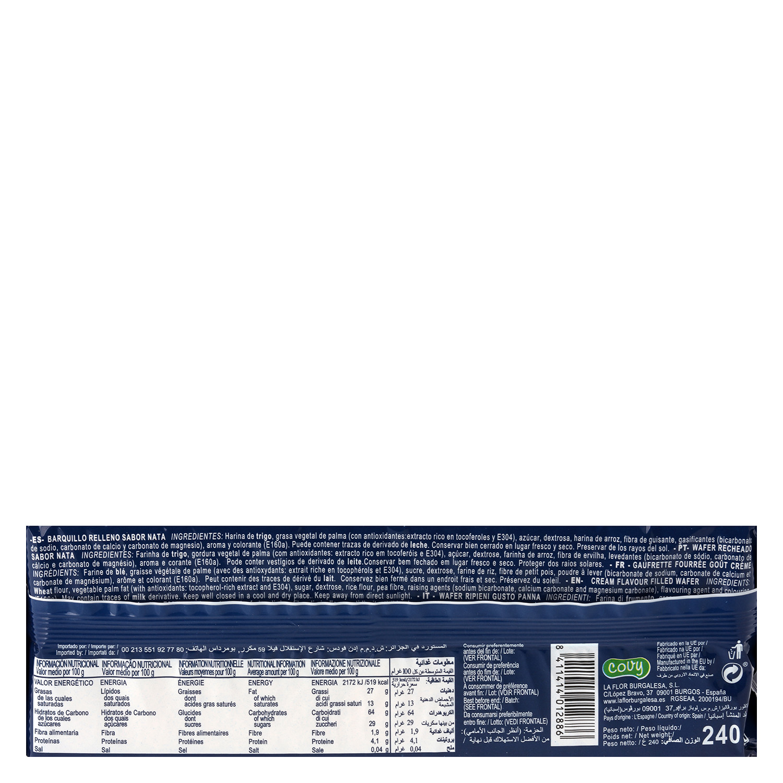 Galletas de barquillo sabor nata Wafers 240 g. -