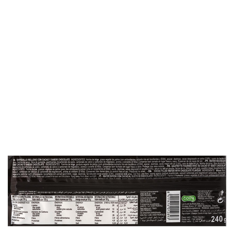 Galletas de barquilllo de chocolate Wafers 240 g. -