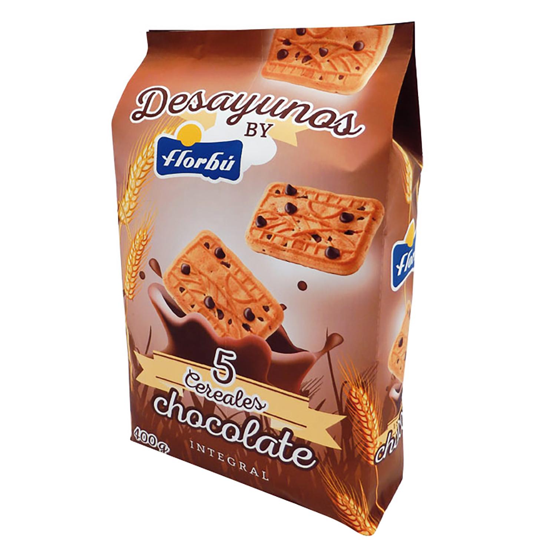Galletas integrales de cereales y chocolate  Florbú 400 g.
