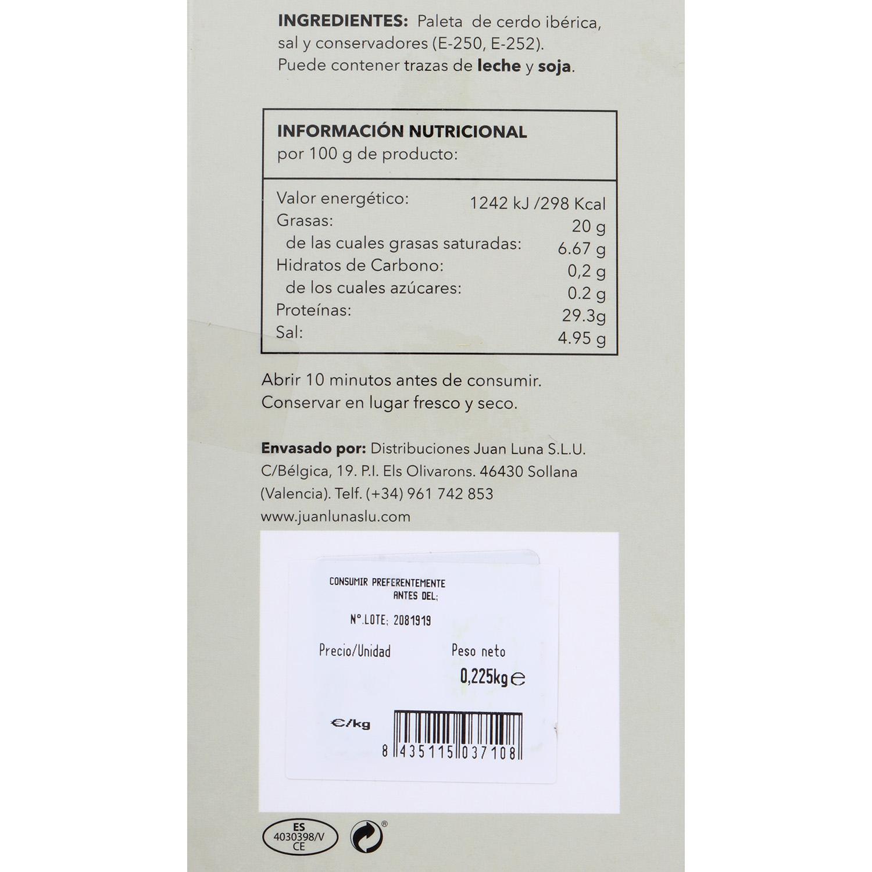 Paleta de cebo ibérica 50% raza ibérica Juan Luna 225 g - 2