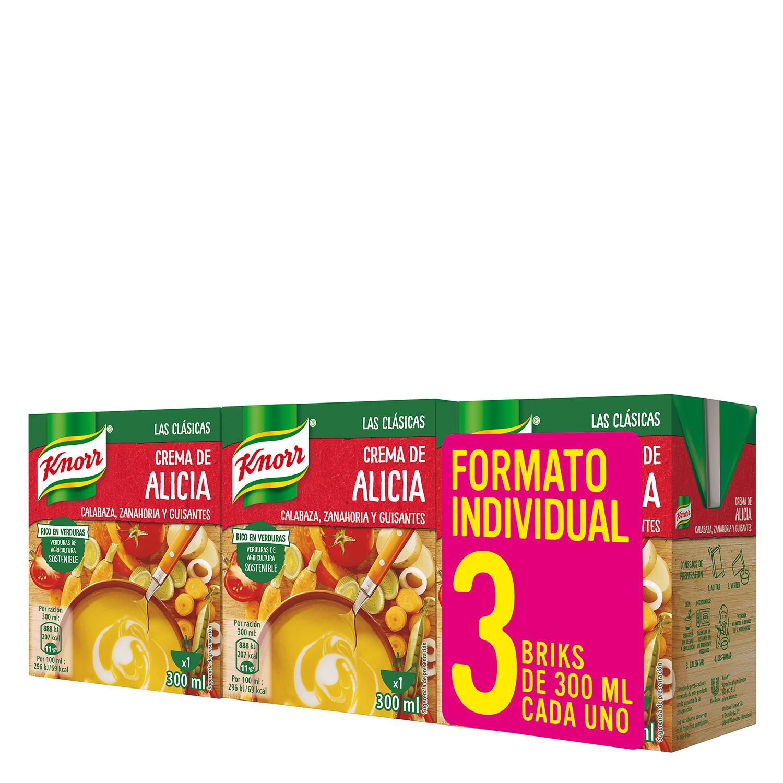 Crema de calabaza, zanahoria y guisantes Knorr pack de 3 unidades de 300 ml.