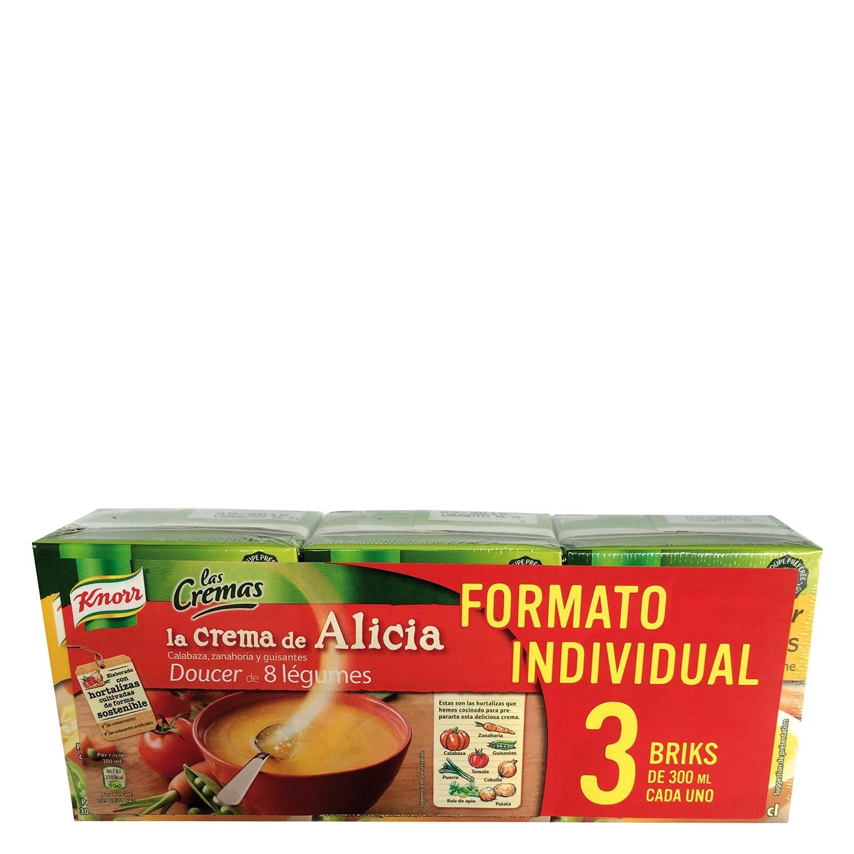 Crema de calabaza, zanahoria y guisantes