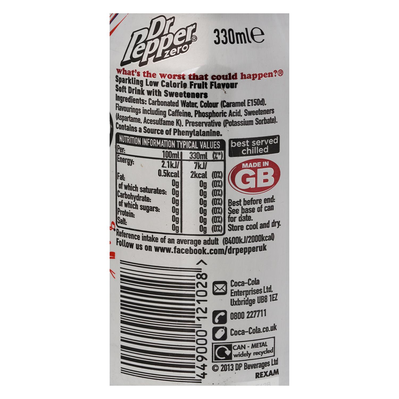 Refresco Dr. Pepper con gas zero lata 33 cl. - 2
