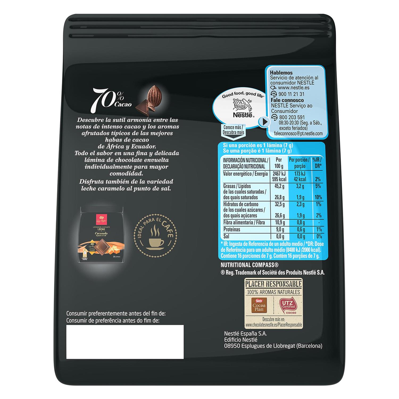 Láminas de chocolate negro -