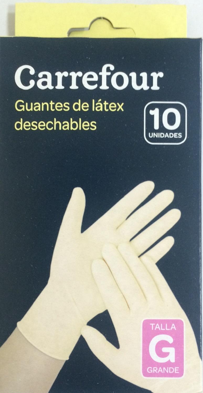 10 Guantes desechables de Látex Carrefour  G - Blanco