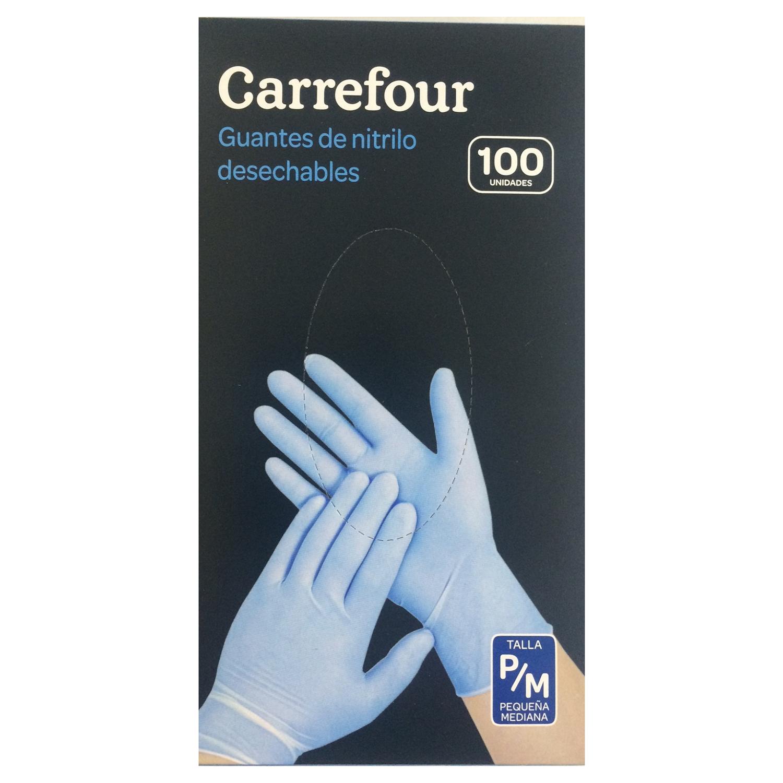 100 Guantes desechables de Nitrilo Carrefour  P/M - Azul