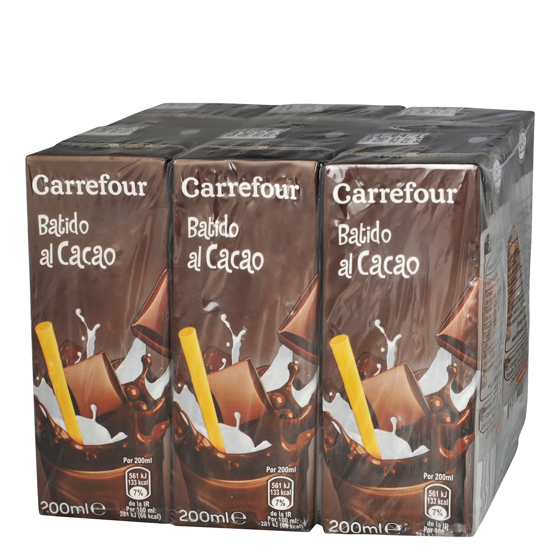 Batido de cacao Carrefour pack de 6 briks de 200 ml.