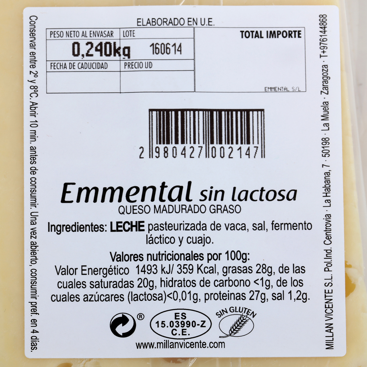 Queso emmental sin lactosa - 2