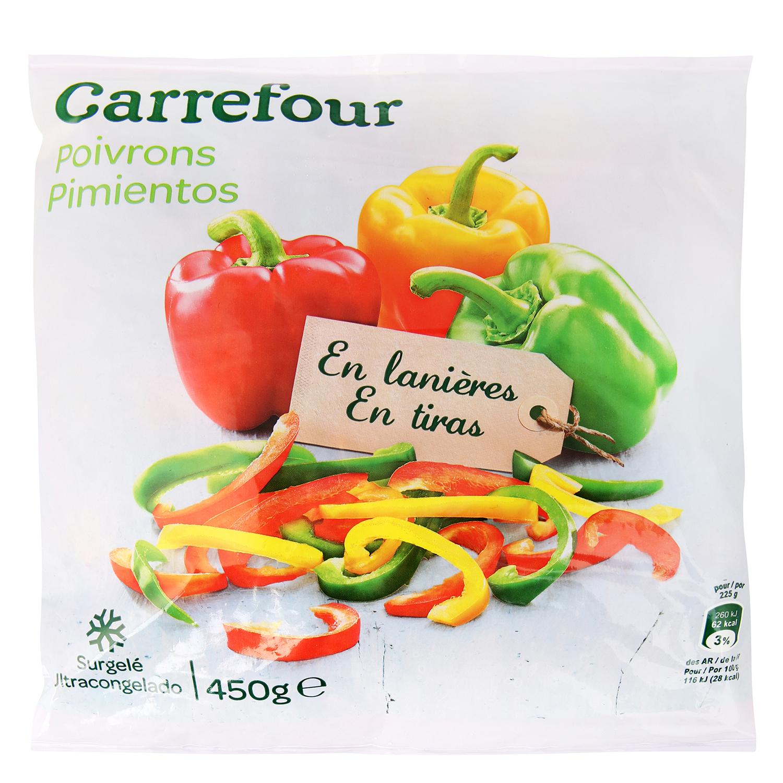 Pimiento en tiras Carrefour 450 g.