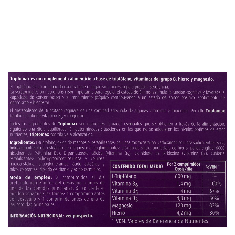 Complemento alimenticio con triptófano Triptomax sin gluten y sin lactosa 30 comprimidos. - 3