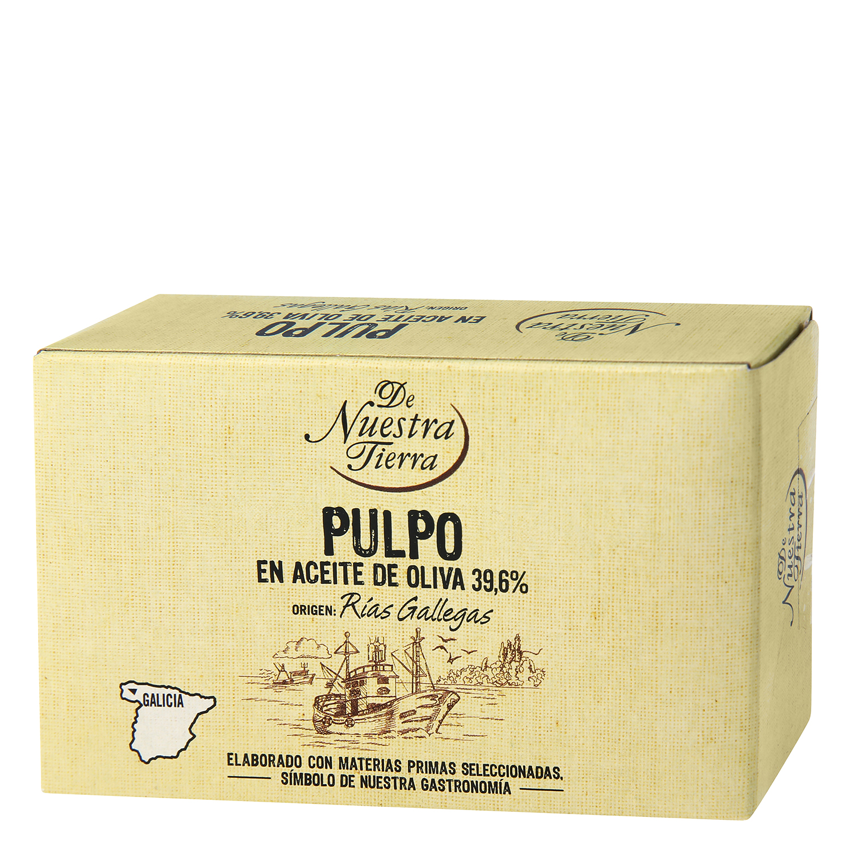 Pulpo de las rías gallegas en aceite de oliva De Nuestra Tierra 67 g.