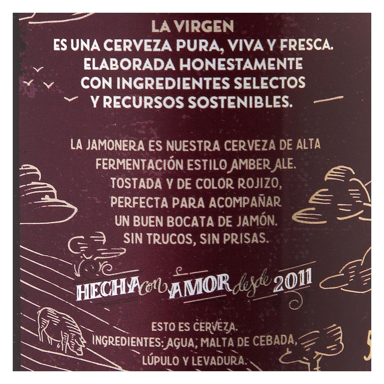 Cerveza artesana La Virgen Jamonera Amber Ale botella 33 cl. - 2