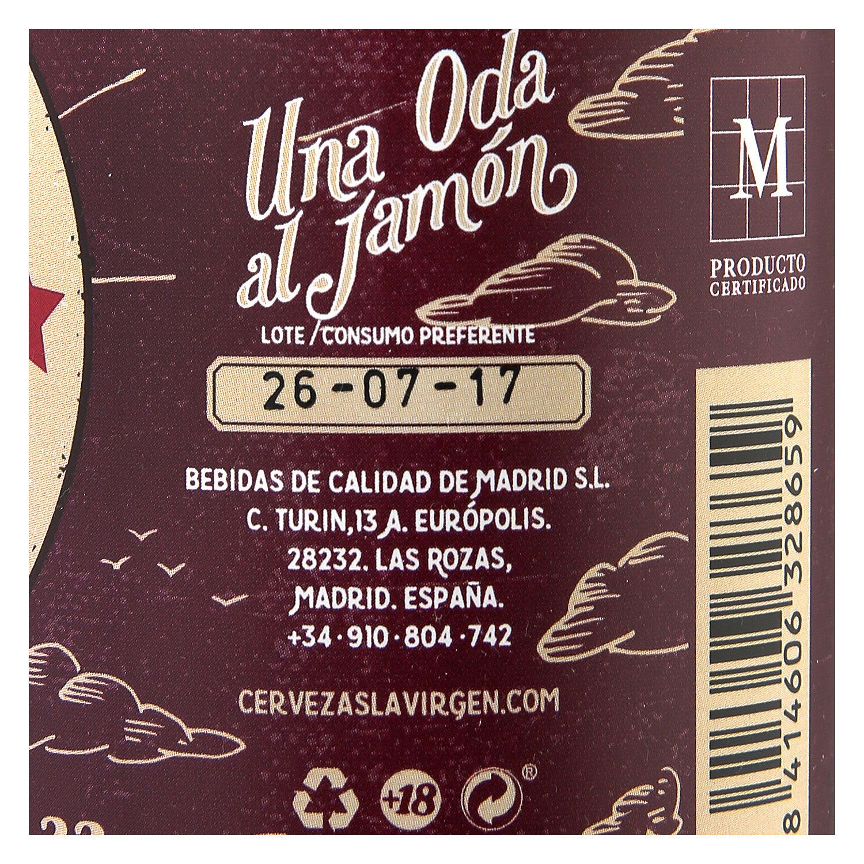 Cerveza artesana La Virgen Jamonera Amber Ale botella 33 cl. -