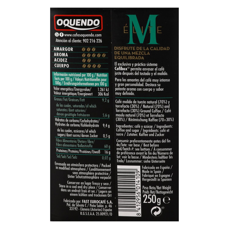 Café molido natural descafeinado Oquendo 250 g. -