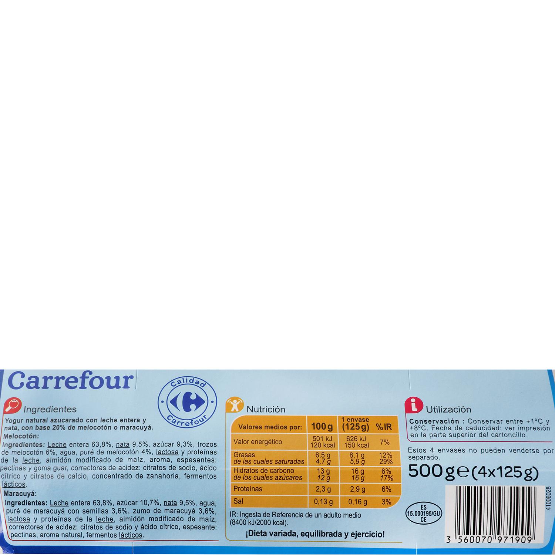 Yogur griego bicapa de maracuyá y de melocotón Carrefour pack de 4 unidades de 125 g. -