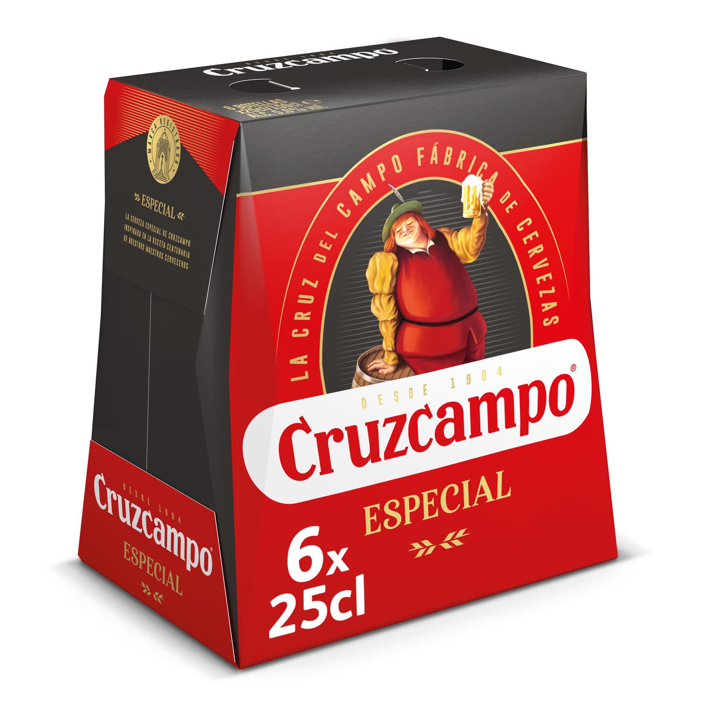 Cerveza Cruzcampo especial pack de 6 botellas de 25 cl.