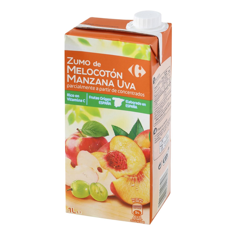 Zumo de melocotón, manzana y uva Carrefour brik 1 l.