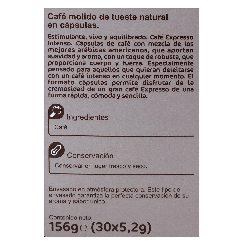 Café intenso en cápsulas Carrefour compatible con Nespresso 30 unidades de 5,2 g. - 2