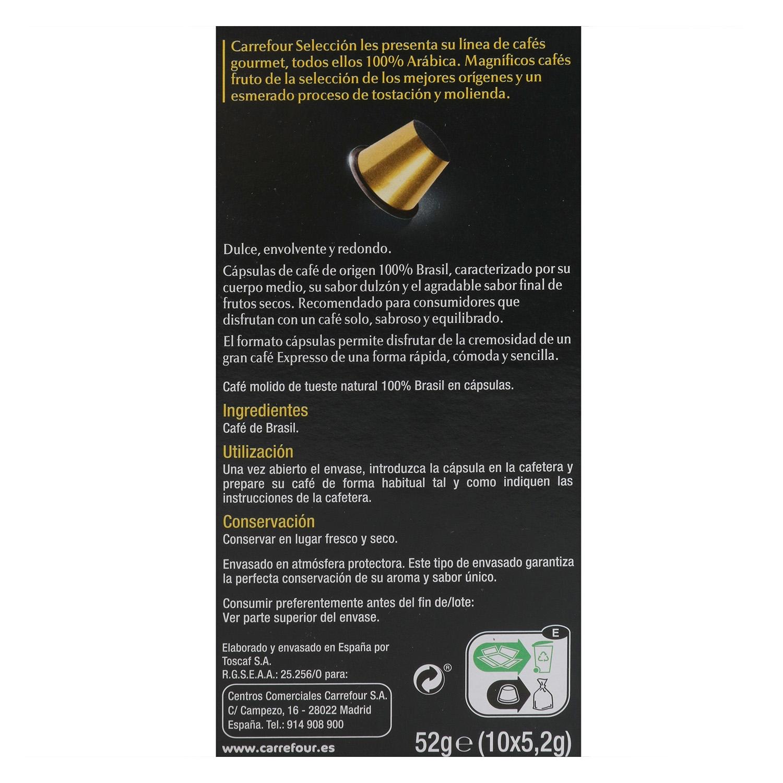 Café espresso de Brasil en cápsulas Carrefour Selección compatible con Nespresso 10 unidades de 5,2 g. -