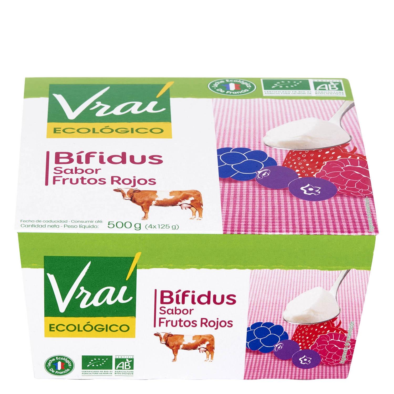 Yogur bífidus de frutos rojos ecológico Vrai pack de 4 unidades de 125 g.