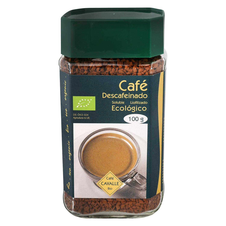 Café soluble liofilizado descafeinado ecológico Cavalle 100 g.
