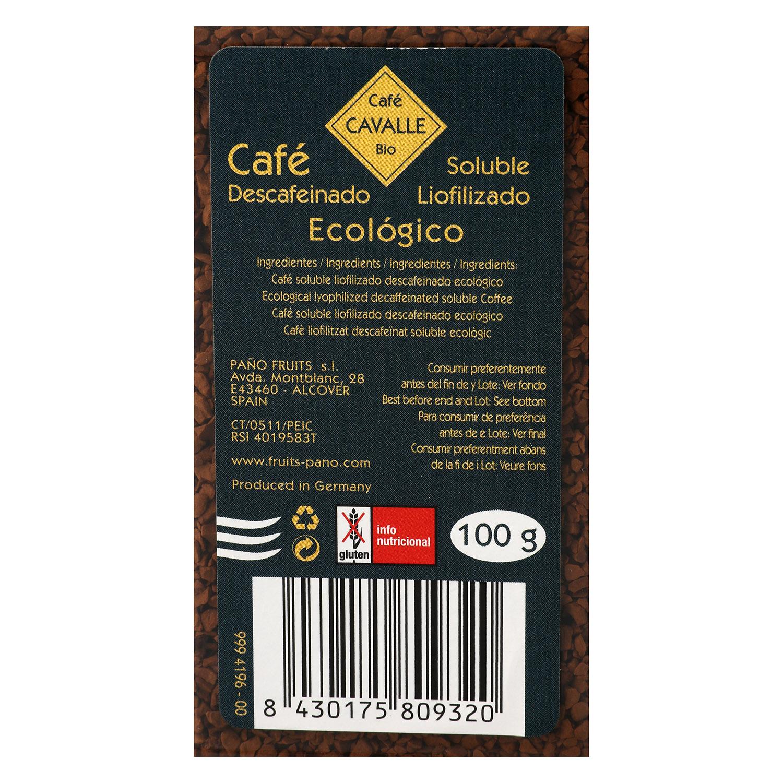 Café soluble liofilizado descafeinado ecológico Cavalle 100 g. -