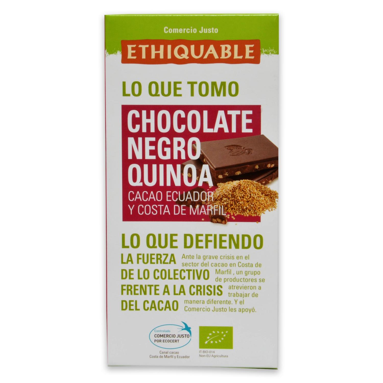 Chocolate negro con quinoa ecológico Ethiquable 100 g.