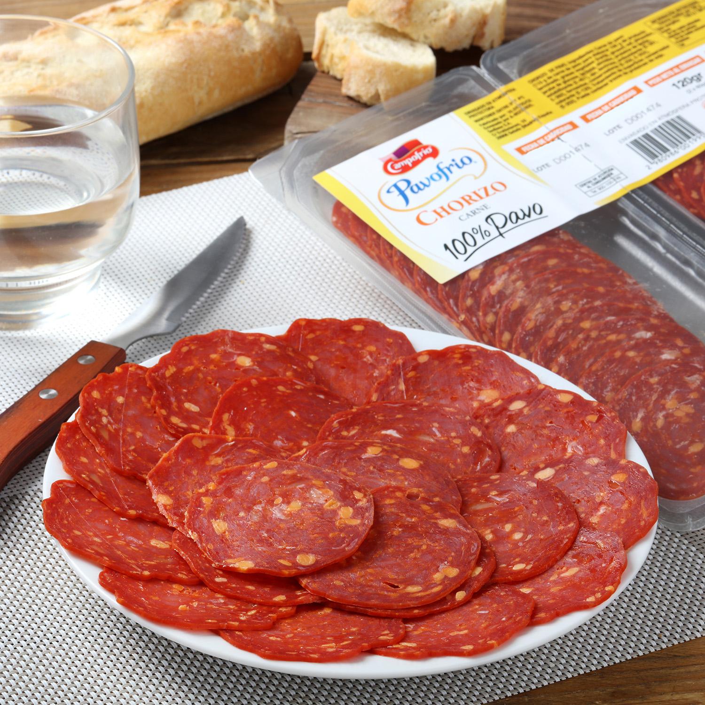 Chorizo de pavo 100% loncheado Pavofrio bipack (2x60g) envase 120 g -