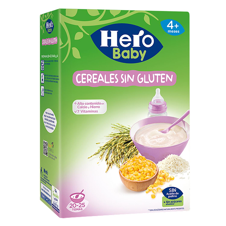 Papilla infantil desde 4 meses de cereales sin azúcar añadido Hero Baby Natur sin gluten y sin acete de palma 500 g.