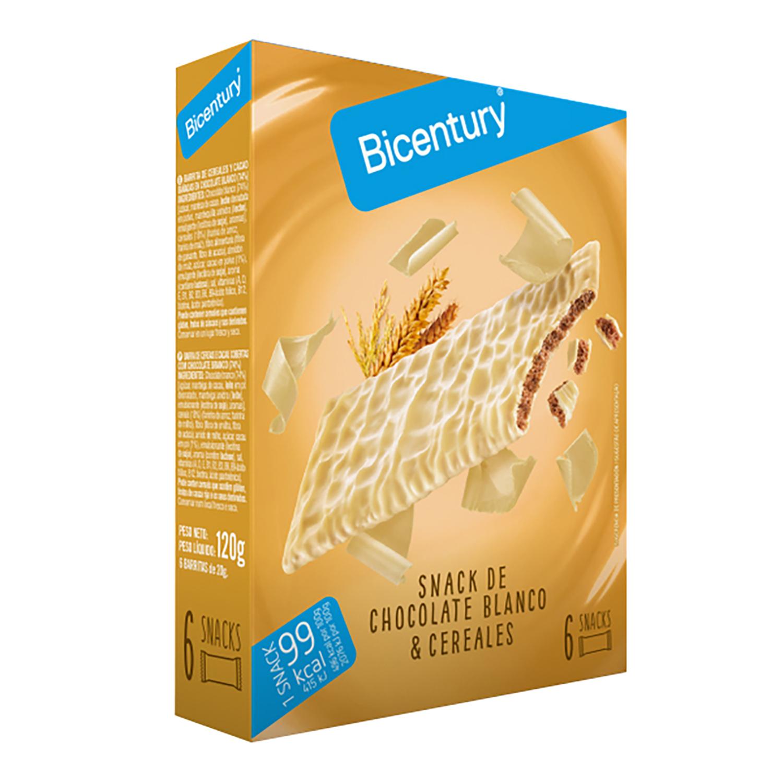 Barritas de chocolate blanco Bicentury 120 g.