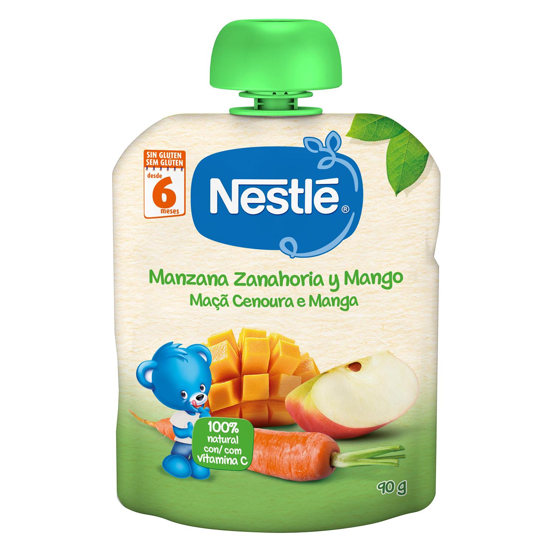 Manzana, zanahoria y mango en bolsita Nestlé 90 g.