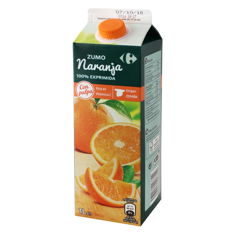 Zumo de naranja Carrefour con pulpa brik 1 l.