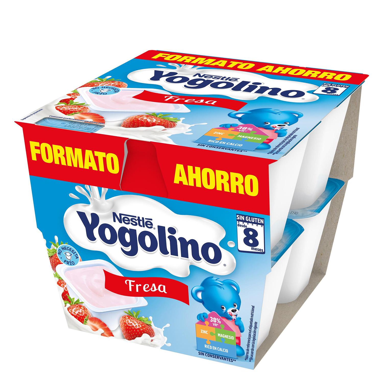 Postre de fresa Nestlé Iogolino pack de 8 unidades de 100 g. -