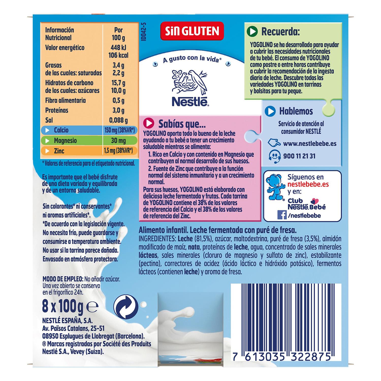 Postre de fresa Nestlé Iogolino pack de 8 unidades de 100 g. - 2