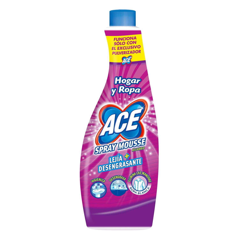 Spray mousse recambio lejía + desengrasante Ace 700 ml.