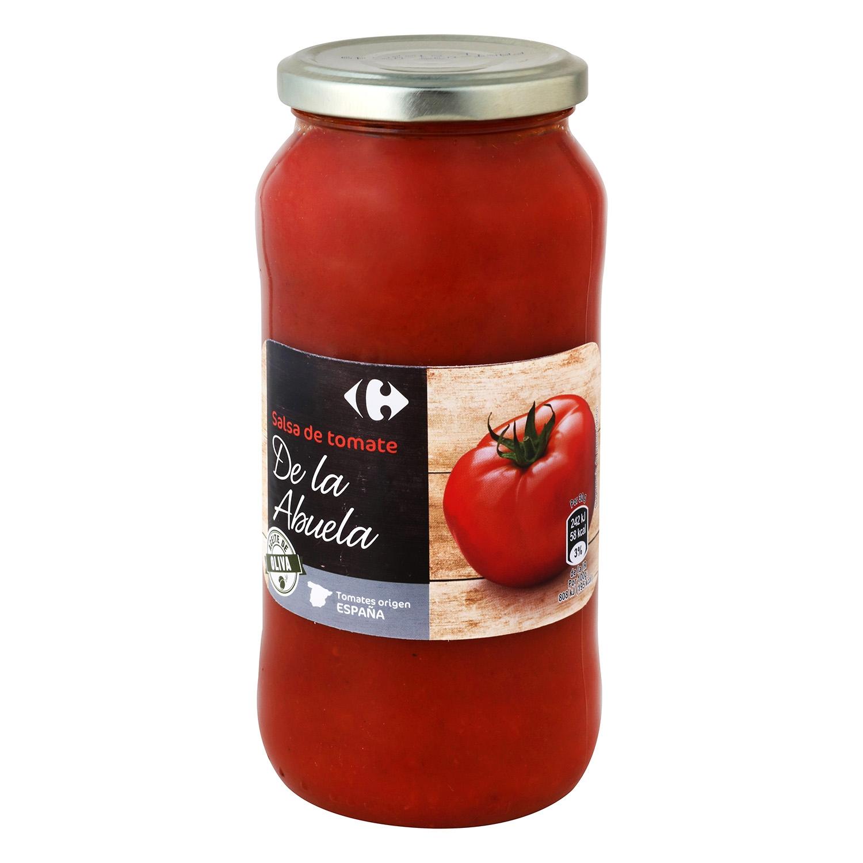 Salsa de tomate con aceite de oliva Carrefour tarro 580 g.
