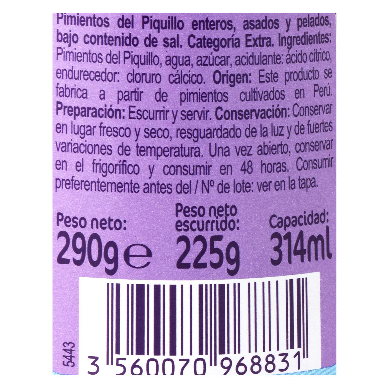 Pimientos del piquillo enteros Carrefour 225 g. -