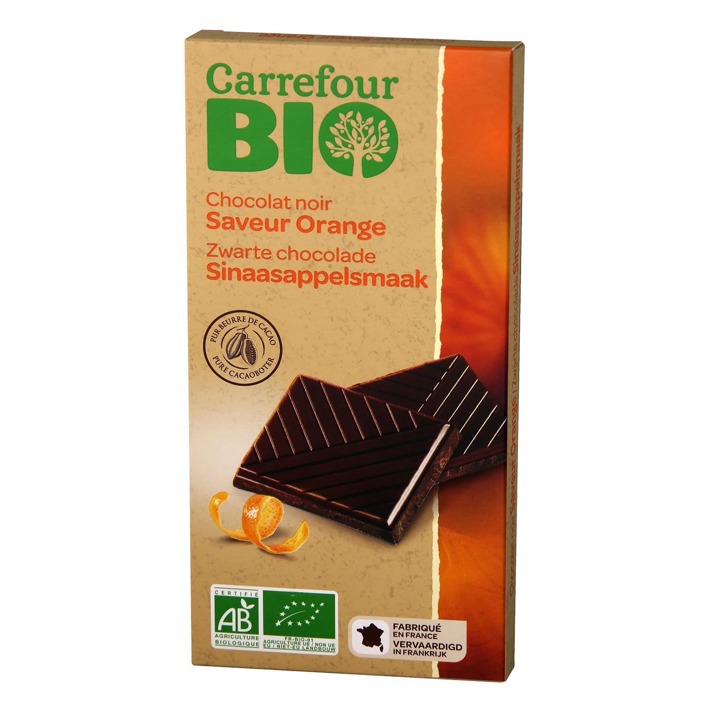 Chocolate negro con naranja ecológico Carrefour Bio 100 g.