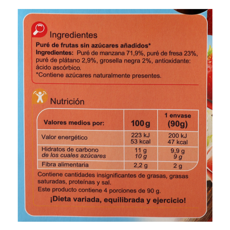 Compota de manzana y fresa Carrefour Kids pack de 4 bolsitas de 90 g. - 3