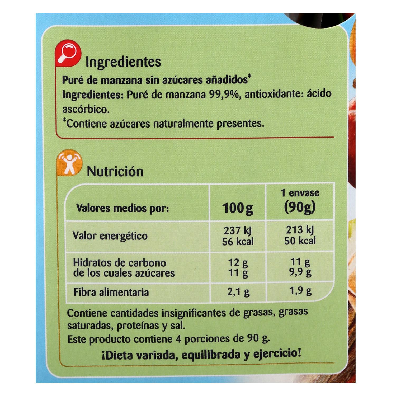Compota de manzana Carrefour Kids pack de 4 unidades de 90 g. -