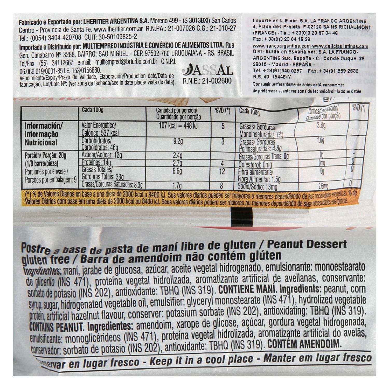 Postre a base de pasta de maní sin gluten -